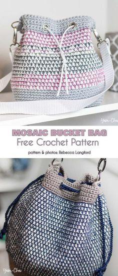 Crochet handbags 496381190177552373 - Mosaic Bucket Bag Free Crochet Pattern Source by brigittebarbett Crochet Backpack, Bag Crochet, Crochet Handbags, Crochet Purses, Free Crochet, Knit Bag, Crochet Baskets, Quick Crochet, Crochet Purse Patterns