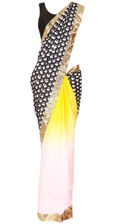 MASABA  Black and ombre apple print sari  Product Code - AWPQ17MA Price - $ 268