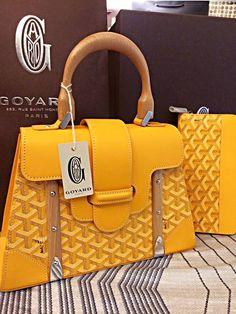 Yellow Goyard Saigon Bag :D New Handbags, Large Handbags, Luxury Handbags, Fashion Handbags, Yellow Bags, Yellow Handbag, Goyard Bag, Slg, How To Make Handbags