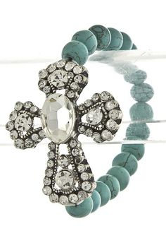 Blinged Out Rhinestone Cross with Turquoise Bead Bracelet.  $15 @ www.witnesswear7.com