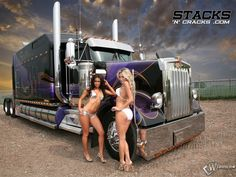 grils with trucks | The picture with the girls Truck, Truck, two heifers, Tractor, Truck ...