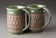 Stoneware Church Key Mugs by natureofclay, via Flickr - pottery - ceramics
