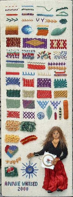 look at this wonderful sampler of embroidery stitches! Check out this blog 'Annies crazy world' Lots of info
