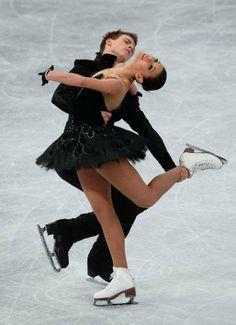 Russian ice dance pair Elena Ilinykh and Nikita Katsalapov perform Black Swan routine~fire skating on ice, beautiful:)