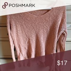 Brandy Melville Pink Sweater worn once, looks new! Brandy Melville Sweaters V-Necks