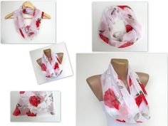 infinity scarf with red rose pattern chiffon by scarfstrends, $12.90