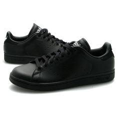 Mens Adidas Stan Smith Black Leather Trainers Preview