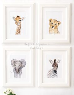 African animals - Safari Nursery - Safari Animal Portrait set of 4 - Giclee - Safari Nursery Art - Baby Lion - Giraffe - Zebra by ElfinLilac on Etsy https://www.etsy.com/listing/453097356/african-animals-safari-nursery-safari