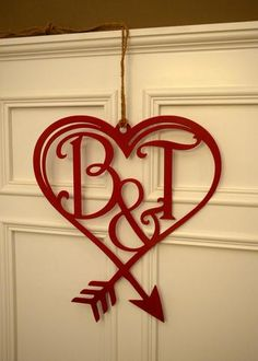 Valentine Door Hanger with Monogram, Metal Monogram Letter