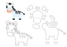 Friends of the Felt: Erica Catarina Safari Template Felt Templates, Applique Templates, Applique Patterns, Card Templates, Felt Animal Patterns, Stuffed Animal Patterns, Felt Diy, Felt Crafts, Erica Catarina