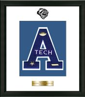 Henry Abbott Technical High School in Connecticut Varsity Letter Frame - Showcase your varsity letter in our Omega solid hardwood shadowbox frame in black satin finish with hand embossed Henry Abbott High School logo, on our white and royal blue museum quality matting. A personalized engraved plate is included.