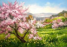 (notitle) – Jenny Parkes – Join in the world of pin Nature Paintings, Beautiful Paintings, Beautiful Landscapes, Watercolor Landscape, Landscape Art, Landscape Paintings, Spring Landscape, Spring Painting, Impressionist Art