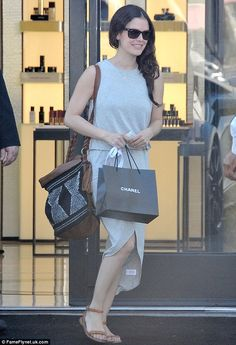 Brunette beauty: Rachel Bilson was spotted doing some shopping in Beverly Hills on Friday...