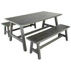 Panca da giardino in legno grigio Dinan