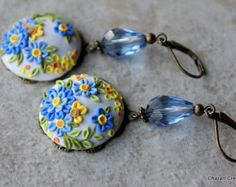 Lovely Floral Clay Applique Earrings in Aqua por charancreations