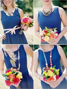 blue bridesmaid dresses and bright bouquets