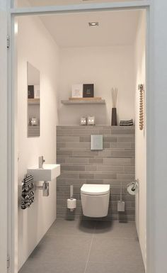 If you have a small bathroom in your home, don't be confuse to change to make it look larger. Not only small bathroom, but also the largest bathrooms have their problems and design flaws. Wc Design, Design Ideas, Bath Design, Home Design, Small Toilet Room, Modern Toilet, Downstairs Toilet, Room Shelves, Shower Shelves
