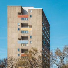 Apartment building in Hansaviertel, Berlin by Van den Broek & Jacob Bakema, 1957. . Photo by Gregor Zoyzoyla . #concrete #art #arch #archilovers #architecture #design #sculpture #berlin #germany #color #hansaviertel