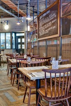 Designs has created a true rustic feel in Beef and Pudding restaurant … - Pam Decor Steel Industrial Restaurant Design, Bar Restaurant Design, Restaurant Concept, Meat Restaurant, Pizzeria Design, Design Café, Cafe Design, Rustic Cafe, Rustic Feel