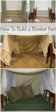 How To Build a Blanket Fort how to make blanket fort. How to make a fort out of blankets. How to make a pillow fort. Sleepover Fort, Sleepover Crafts, Fun Sleepover Ideas, Girl Sleepover, Sleepover Activities, Sofa Fort, Indoor Forts, Indoor Camping, Kids Fort Indoor