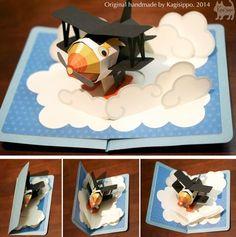 original handmade  [pop-up card]   Flying boat  ************************************** [YouTube]    http://youtu.be/vDYhw0Zgxjs