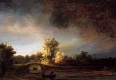 Rembrandt, Landscape with a Stone Bridge, c.1638, oil on panel, 30 x 43 cm, Rijksmuseum, Amsterdam. Source