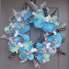 Zebra Print and Polka Dot Deco Mesh and Ribbon Wreath. $50.00, via Etsy.