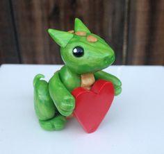 Polymer Clay Valentine Dragon by LumpyDinos on Etsy