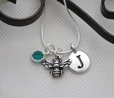 Bee Necklace, Personalized Bee Necklace, Bee Jewelry Gifts, Letter Birthstone, Silver Bee Necklace, Bee Initial, Honey Bee Necklace, Custom
