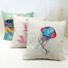 "Universe of goods - Buy ""Turtle Mermaid Pink Cushion Cover Ocean Jellyfish Pillow Case French Country Farmhouse Houseware Pillow With Cover Linen"" for only USD. Decorative Pillow Cases, Throw Pillow Cases, Throw Pillows, Colorful Jellyfish, Pink Cushion Covers, Mermaid Room, Textiles, Home Textile, Decoration"