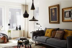 Mid century modern boho chic...LOVE the light fixtures