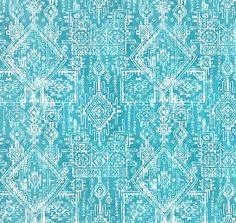 Southwest Aztec Turquoise Blue Fabric Designer Cotton Drapery Fabric Curtain Fabric Upholstery Fabric Tribal Blue Home Decor Fabric G398