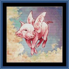 Patterns  Cross Stitch  Austitch  Lux Nova Studio  Morgan Wilson  cross stitch  pattern  patterns  chart  graph  modern flying  pig  cute  pink