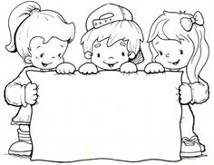 children with sign Page Borders Design, Border Design, Borders For Paper, Borders And Frames, Colouring Pages, Coloring Books, Human Drawing, Digi Stamps, Coloring For Kids