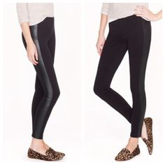J. Crew - Pixie Pant with Leather Tuxedo Stripe BNWT! The most comfortable pixie pant in J. Crew's exclusive pointe knit with a trendy but subtle leather tuxedo stripe. Hits at the ankle. Zips up the back. J. Crew Pants