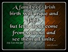 A family of Irish birth will argue and fight, but let a shout come from without and see them all unite. Celtic Pride, Irish Pride, Irish Celtic, Irish Quotes, Me Quotes, Irish Sayings, Irish Poems, Italian Sayings, Funny Sayings