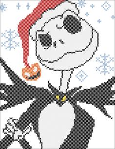 BOGO FREE! Merry Christmas Nightmare Before Christmas Jack Skellington Decal - pdf cross stitch pattern pattern instant download  #196 by Rainbowstitchcross on Etsy