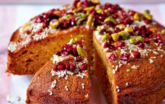 This yogurt cake stays lovely and moist so it is great to prepare ahead of time. Serve with an extra spoonful of Greek yogurt for a tasty afternoon treat. Baking Recipes, Cake Recipes, Yogurt Cake, Pomegranate Seeds, Honey Lemon, Apple Cake, Cake Tins, Greek Yogurt, Pistachio