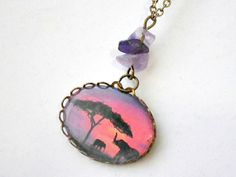 elephant silhouette cameo pendant necklace by VintageHomage, $9.00