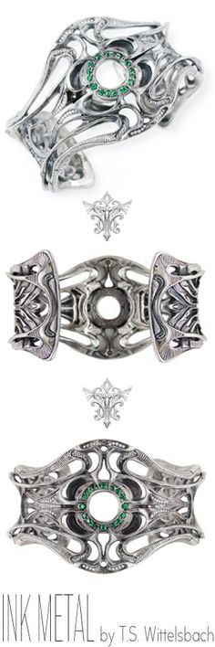 With the free flow of Art Nouveau curves mixed piercing mechanical surrealism, this palladium cuff by T.S. Wittelsbach twists to display brilliant diamond melee and a crystal halo of tsavorite in its center.