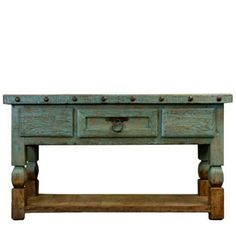 """Mexican TV Stand 64"""" Turquoise Dark Stain Reclaimed Wood Vintage Shelf Storage 