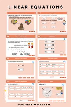 Linear Equations- Grade 6 by Skoolmaths - Interactive Maths Lessons Ks3 Maths Worksheets, Kindergarten Math Worksheets, Maths Puzzles, Free Printable Worksheets, Math Resources, Fifth Grade Math, Fourth Grade, Solving Linear Equations, Math Place Value