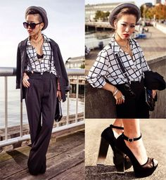 Button up all the way and minus the shoes.