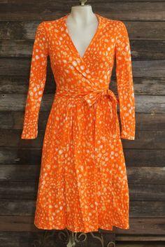 Vintage 1970s Iconic Diane Von Furstenberg Orange Wrap Dress Italy Small #DianevonFurstenberg #WrapDress