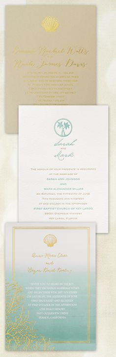 Set the tone for your beach themed wedding with coordinating wedding invitations featuring tropical palm trees, seashells and beach scenery      @dawninvites