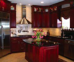 Ideas For Kitchen Backsplash Red Cherry Cabinets Red Kitchen Cabinets, Cherry Cabinets, Kitchen Paint, Kitchen Redo, Kitchen Remodel, Nice Kitchen, Kitchen Items, Purple Kitchen, Cherry Kitchen