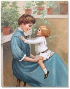 Children's Antique Prints-Ida Waugh- Tell Me a Story- Chromo-Date1888 #Vintage120yearsold