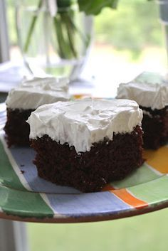 """""""busy day"""" chocolate cake 1 1/2 cups flour (all-purpose) 1 cup sugar 1/4 cup unsweetened cocoa powder 1 tsp baking soda 1/2 tsp coarse salt 6 TBSP vegetable oil 1 tsp vanilla 1 TBSP white vinegar ** 1 cup cold water"""