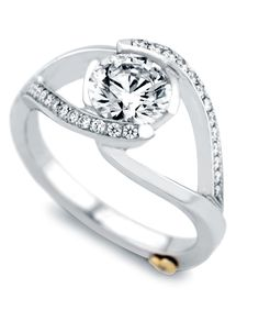The Sumptuous engagement ring contains 27 diamonds, totaling 0.135ctw. Center stone sold separately, not included in price.The Sumptuous wedding band contains 11 diamonds, totaling 0.055ctw.