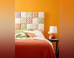 Para quem gosta de patchwork, esta é uma ideia fofa para uma cabeceira.